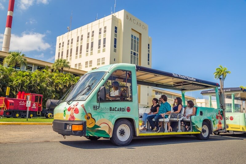 Ride on the bacardi bus at casa bacardi